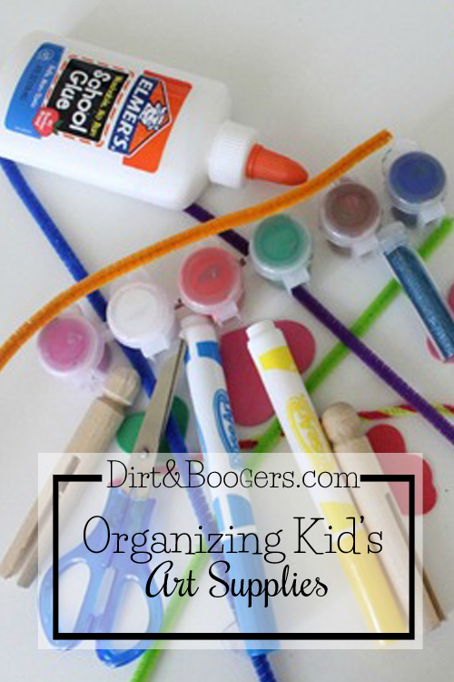 Tips and solutions for organizing kid's art supplies.