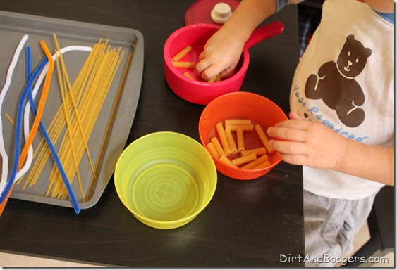 Invitations to Play: Pasta and Playdough