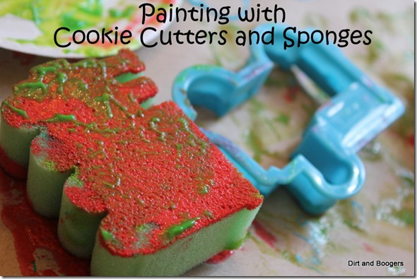 sponge and cookie cutter painting, toddler activities