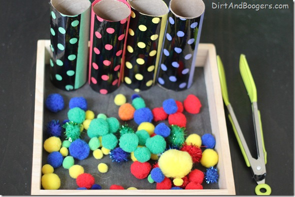 pom poms, sorting, preschool, pom pom drop