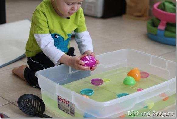 plastic easter eggs, easter egg match up, preschool play