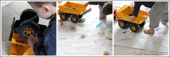 painting with a dump truck
