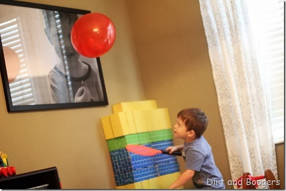hit the balloon, playing with balloons, preschool play