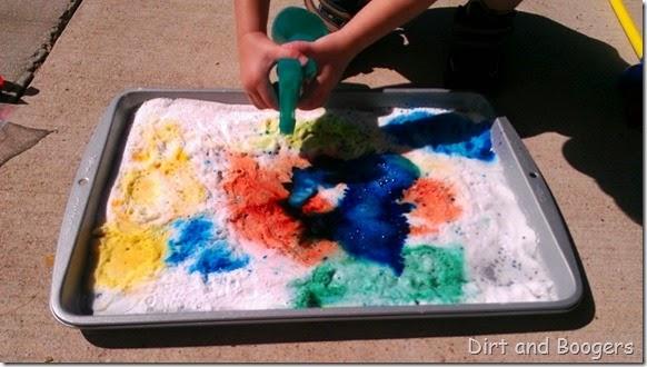 Colorful Baking Soda and Vinegar Preschool Science  Experiment