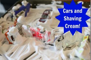 Cars and Shaving Cream Play
