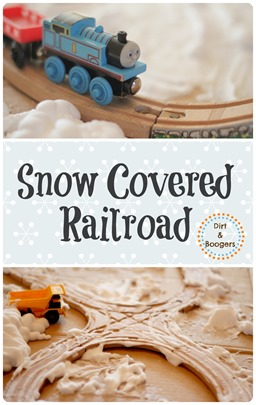 Cover your child's train track in snow.