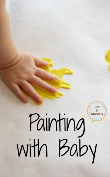Exploring paint with babies