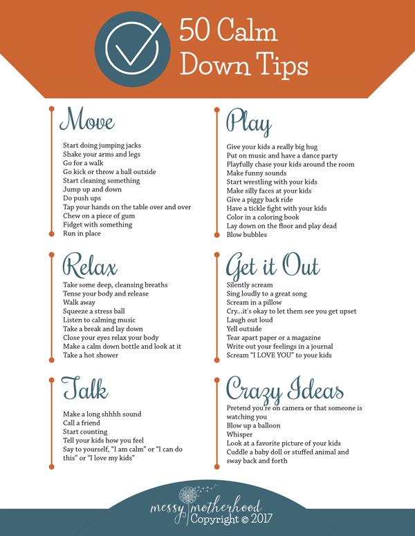 50 Calm Down Tips
